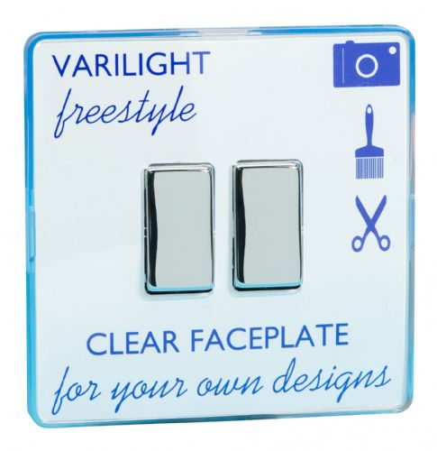 Varilight XIF2C Freestyle Clear 2 Gang 10A 1 or 2 Way Rocker Light Switch